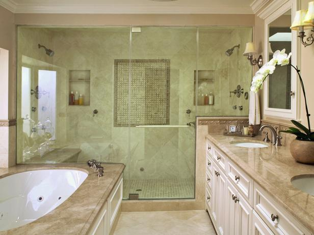 Travertine Tile, Tub and Glass Shower