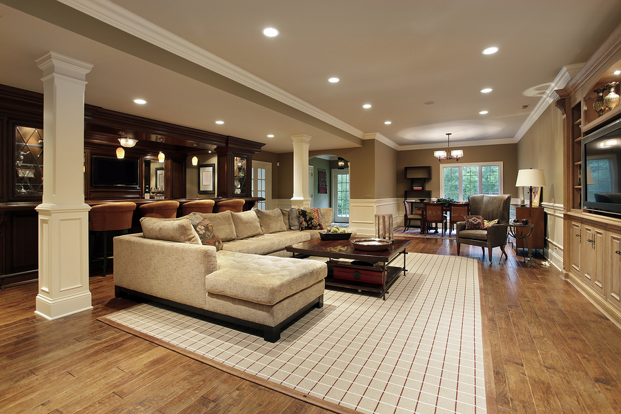 Basement in luxury home with bar area