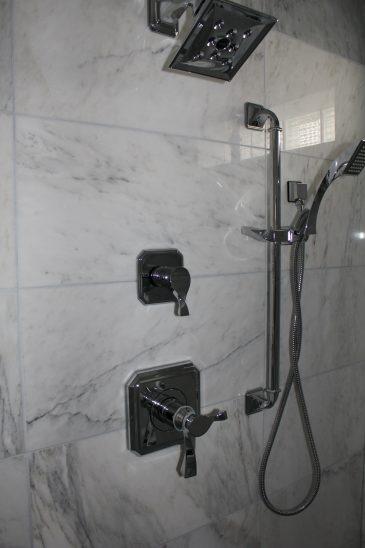 White Carrara Marble Shower