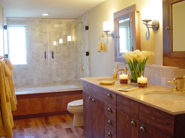 Bathroom Travertine tile and Wood