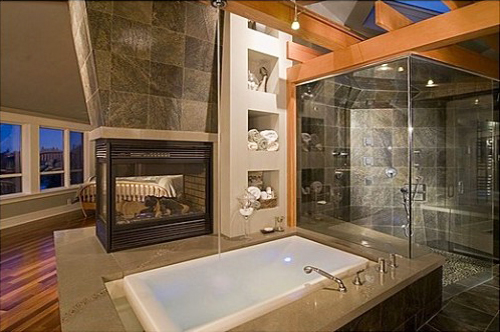 Bathroom w shower tub fire place