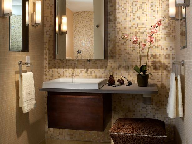 Brown Vanity & Medicine Cabinet Combination