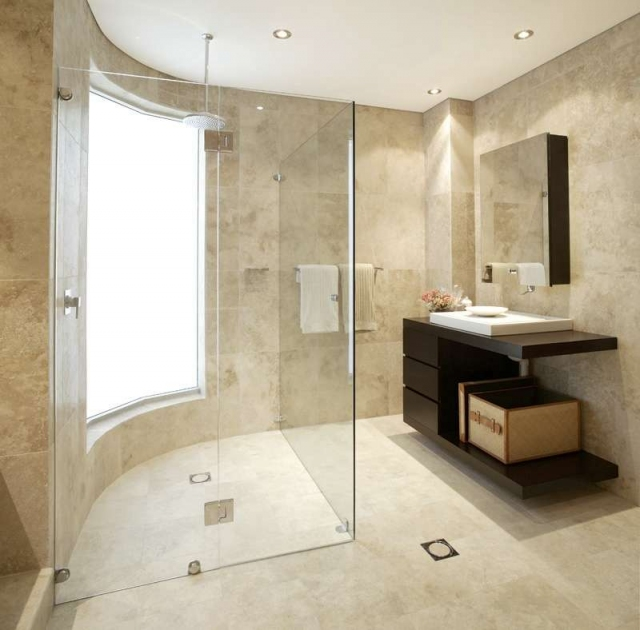 Clear Glass Shower Enclosure U0026 Travertine Tile.preview