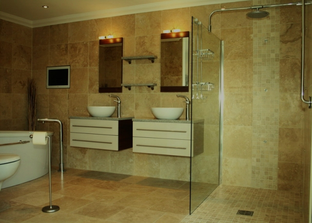 Contemporary Travertine Tile Bathroom (2).preview