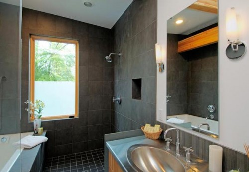 Gray Tile Master Bathroom