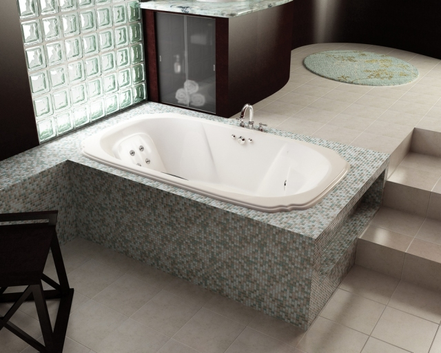LUXURY JETTED BATHTUB 1X1 GLASS TILE