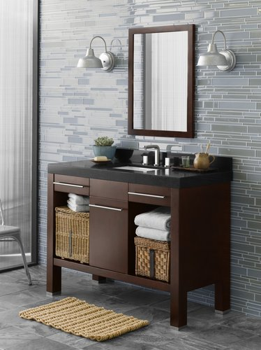 Tile Wall And Vanity Cabinet