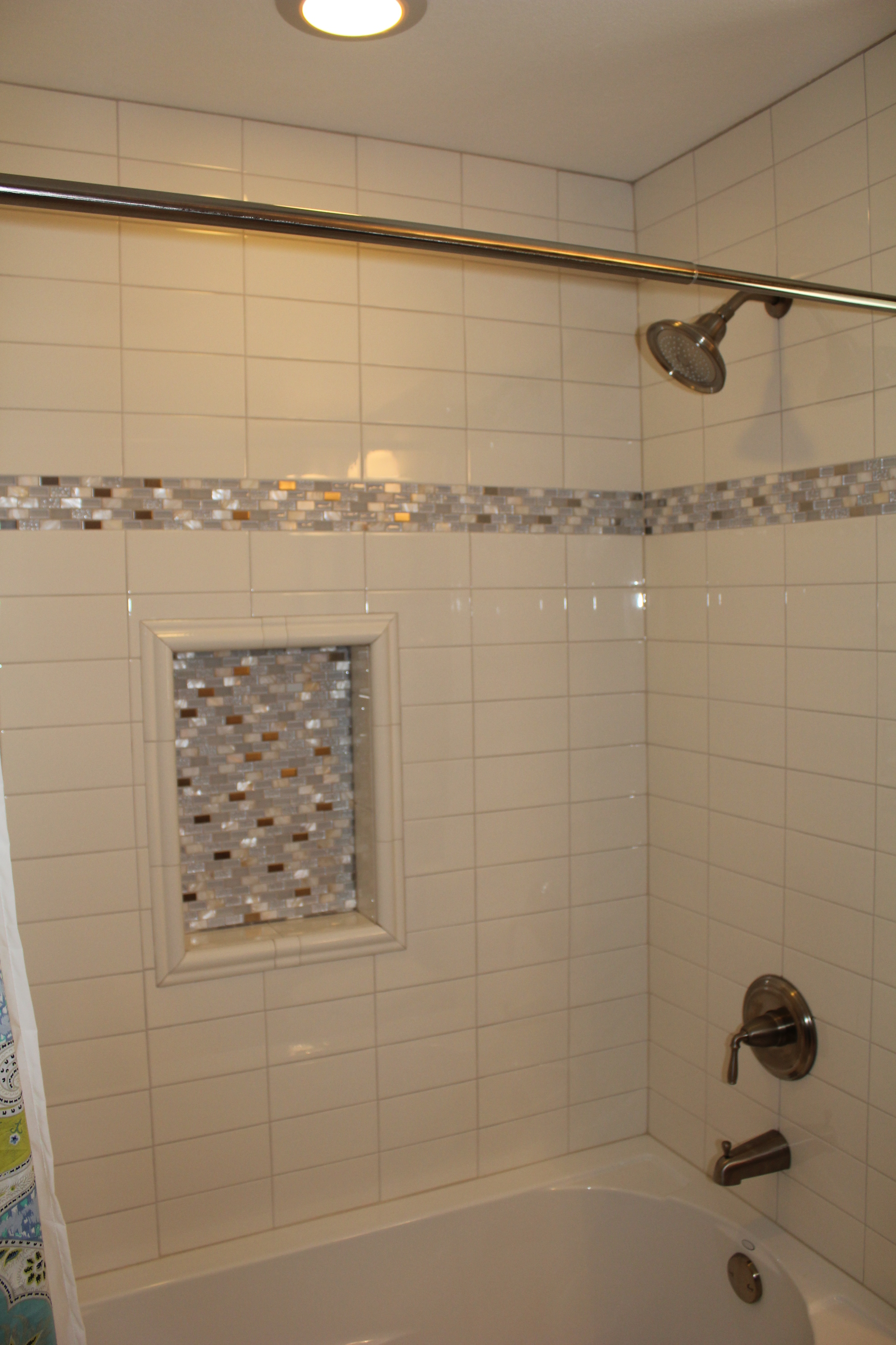 Subway tile shower littleton vista remodeling Bathroom tile showers