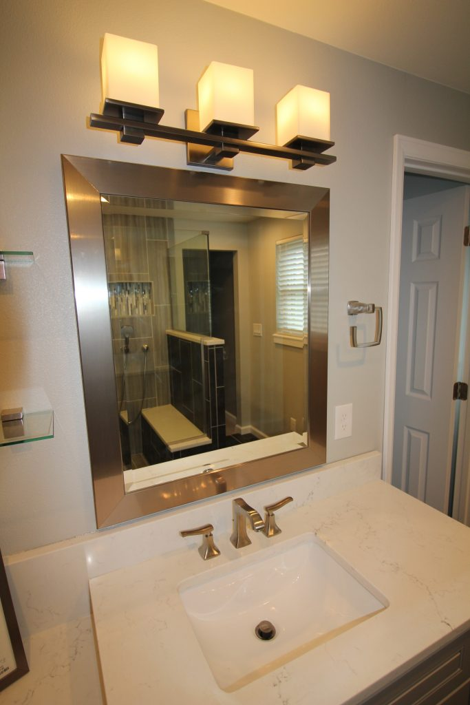 Dark Grey Master Bathroom Vista Remodeling